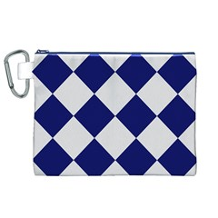 Harlequin Diamond Argyle Sports Team Colors Navy Blue Silver Canvas Cosmetic Bag (XL)