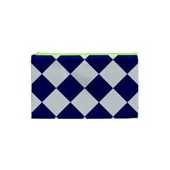 Harlequin Diamond Argyle Sports Team Colors Navy Blue Silver Cosmetic Bag (xs)