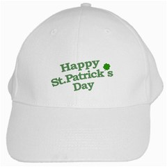 Happy St Patricks Text With Clover Graphic White Baseball Cap