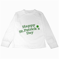 Happy St Patricks Text With Clover Graphic Kids Long Sleeve T Shirt