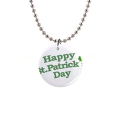 Happy St Patricks Text With Clover Graphic Button Necklace