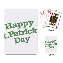 Happy St Patricks Text With Clover Graphic Playing Cards Single Design