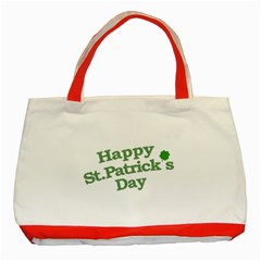 Happy St Patricks Text With Clover Graphic Classic Tote Bag (Red)