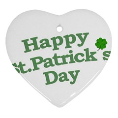 Happy St Patricks Text With Clover Graphic Heart Ornament (Two Sides)