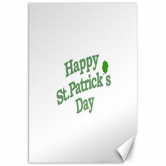 Happy St Patricks Text With Clover Graphic Canvas 20  x 30  (Unframed)