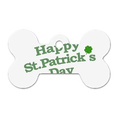 Happy St Patricks Text With Clover Graphic Dog Tag Bone (One Sided)