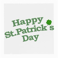 Happy St Patricks Text With Clover Graphic Glasses Cloth (medium, Two Sided)