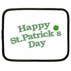 Happy St Patricks Text With Clover Graphic Netbook Sleeve (Large)