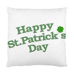 Happy St Patricks Text With Clover Graphic Cushion Case (Two Sided)