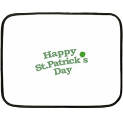 Happy St Patricks Text With Clover Graphic Mini Fleece Blanket (two Sided)