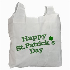 Happy St Patricks Text With Clover Graphic White Reusable Bag (Two Sides)