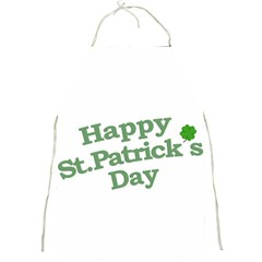Happy St Patricks Text With Clover Graphic Apron