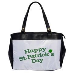 Happy St Patricks Text With Clover Graphic Oversize Office Handbag (One Side)