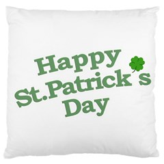 Happy St Patricks Text With Clover Graphic Large Cushion Case (Two Sided)