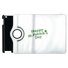 Happy St Patricks Text With Clover Graphic Apple iPad 2 Flip 360 Case