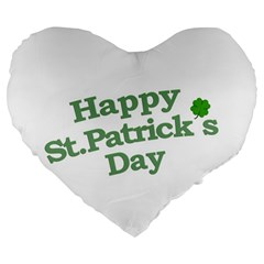 Happy St Patricks Text With Clover Graphic 19  Premium Heart Shape Cushion