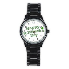 Happy St Patricks Text With Clover Graphic Sport Metal Watch (Black)