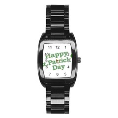 Happy St Patricks Text With Clover Graphic Stainless Steel Barrel Watch