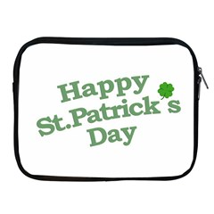 Happy St Patricks Text With Clover Graphic Apple iPad Zippered Sleeve