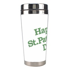 Happy St Patricks Text With Clover Graphic Stainless Steel Travel Tumbler