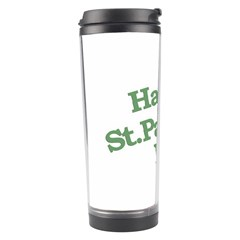 Happy St Patricks Text With Clover Graphic Travel Tumbler