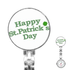Happy St Patricks Text With Clover Graphic Stainless Steel Nurses Watch
