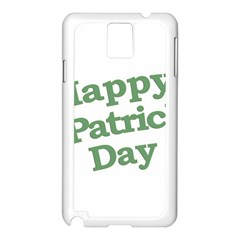 Happy St Patricks Text With Clover Graphic Samsung Galaxy Note 3 N9005 Case (White)