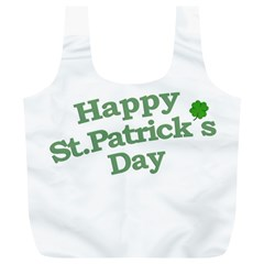 Happy St Patricks Text With Clover Graphic Reusable Bag (XL)