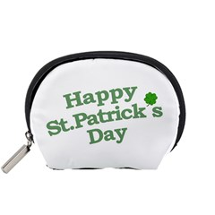 Happy St Patricks Text With Clover Graphic Accessory Pouch (small)