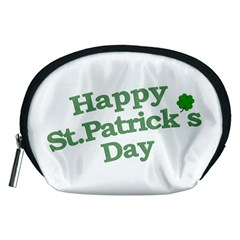 Happy St Patricks Text With Clover Graphic Accessory Pouch (Medium)