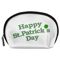 Happy St Patricks Text With Clover Graphic Accessory Pouch (Large)