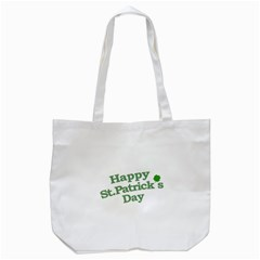 Happy St Patricks Text With Clover Graphic Tote Bag (White)