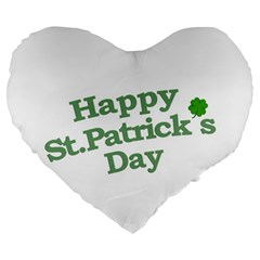 Happy St Patricks Text With Clover Graphic 19  Premium Flano Heart Shape Cushion