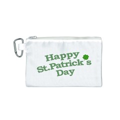 Happy St Patricks Text With Clover Graphic Canvas Cosmetic Bag (Small)