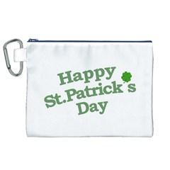 Happy St Patricks Text With Clover Graphic Canvas Cosmetic Bag (XL)