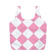 Harlequin Diamond Pattern Pink White Reusable Bag (M)