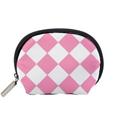 Harlequin Diamond Pattern Pink White Accessory Pouch (Small)