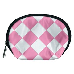 Harlequin Diamond Pattern Pink White Accessory Pouch (Medium)