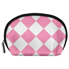 Harlequin Diamond Pattern Pink White Accessory Pouch (Large)