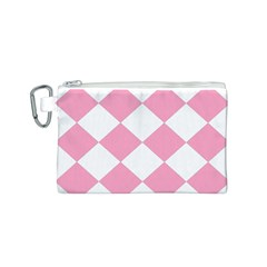 Harlequin Diamond Pattern Pink White Canvas Cosmetic Bag (Small)