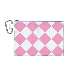 Harlequin Diamond Pattern Pink White Canvas Cosmetic Bag (Medium)