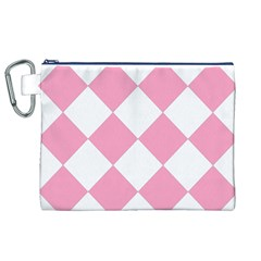 Harlequin Diamond Pattern Pink White Canvas Cosmetic Bag (XL)