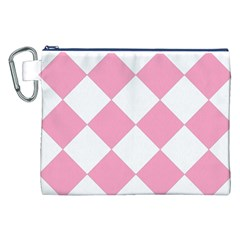 Harlequin Diamond Pattern Pink White Canvas Cosmetic Bag (XXL)