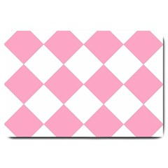 Harlequin Diamond Pattern Pink White Large Door Mat