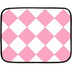 Harlequin Diamond Pattern Pink White Mini Fleece Blanket (Two Sided)