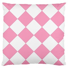Harlequin Diamond Pattern Pink White Standard Flano Cushion Case (one Side)