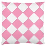 Harlequin Diamond Pattern Pink White Standard Flano Cushion Case (One Side) Front