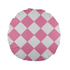 Harlequin Diamond Pattern Pink White 15  Premium Flano Round Cushion