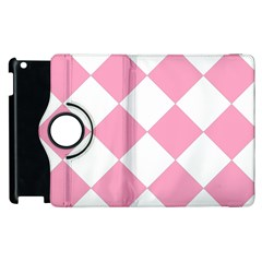 Harlequin Diamond Pattern Pink White Apple iPad 3/4 Flip 360 Case