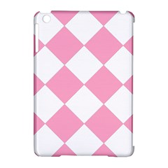 Harlequin Diamond Pattern Pink White Apple Ipad Mini Hardshell Case (compatible With Smart Cover)